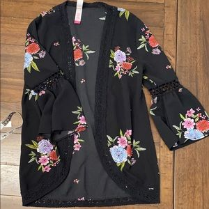 Black open floral cardigan size XS